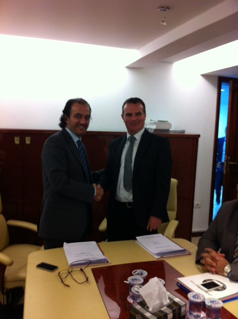 Deputy Minister of Transport Mr Mukhtar Fathalla and Captain Mark Casey, President and CEO of AFTA having just signed the contract in Tripoli in late 2013