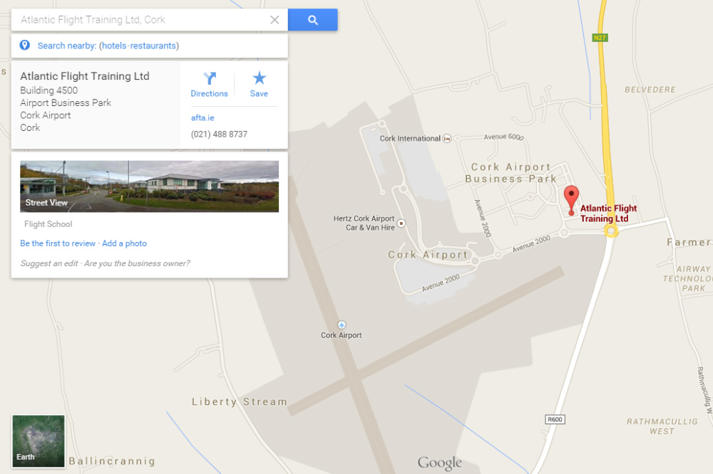 Google Map of Atlantic Flight Training Academy locations in Cork Airport
