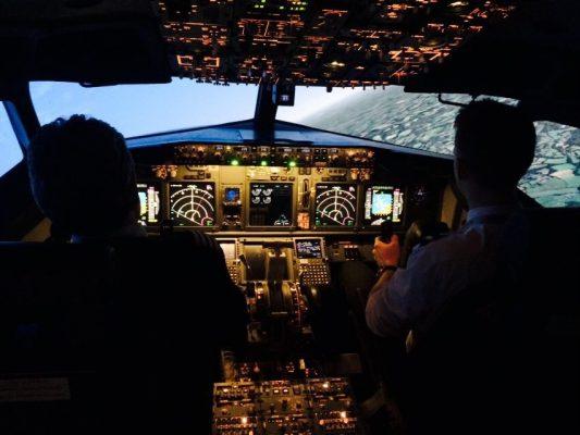 Marc O'Gorman in the 737 simulator at AFTA